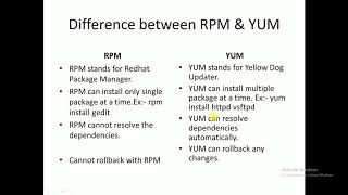Difference between RPM & YUM