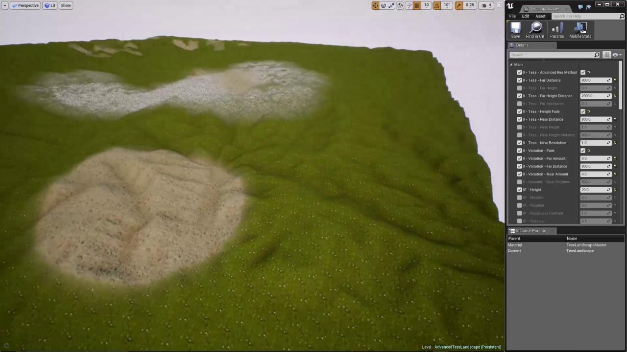 Updates   UE4 Adv  Tess  Disp  Landscape Material