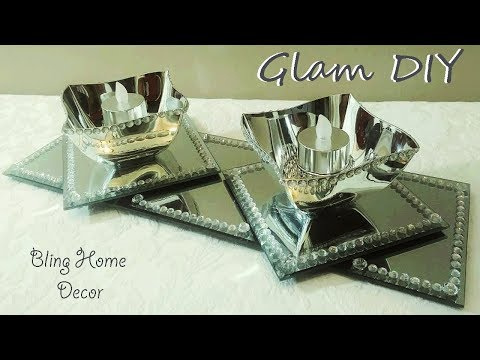 Dollar Tree DIY Glam Bling Mirror Centerpiece