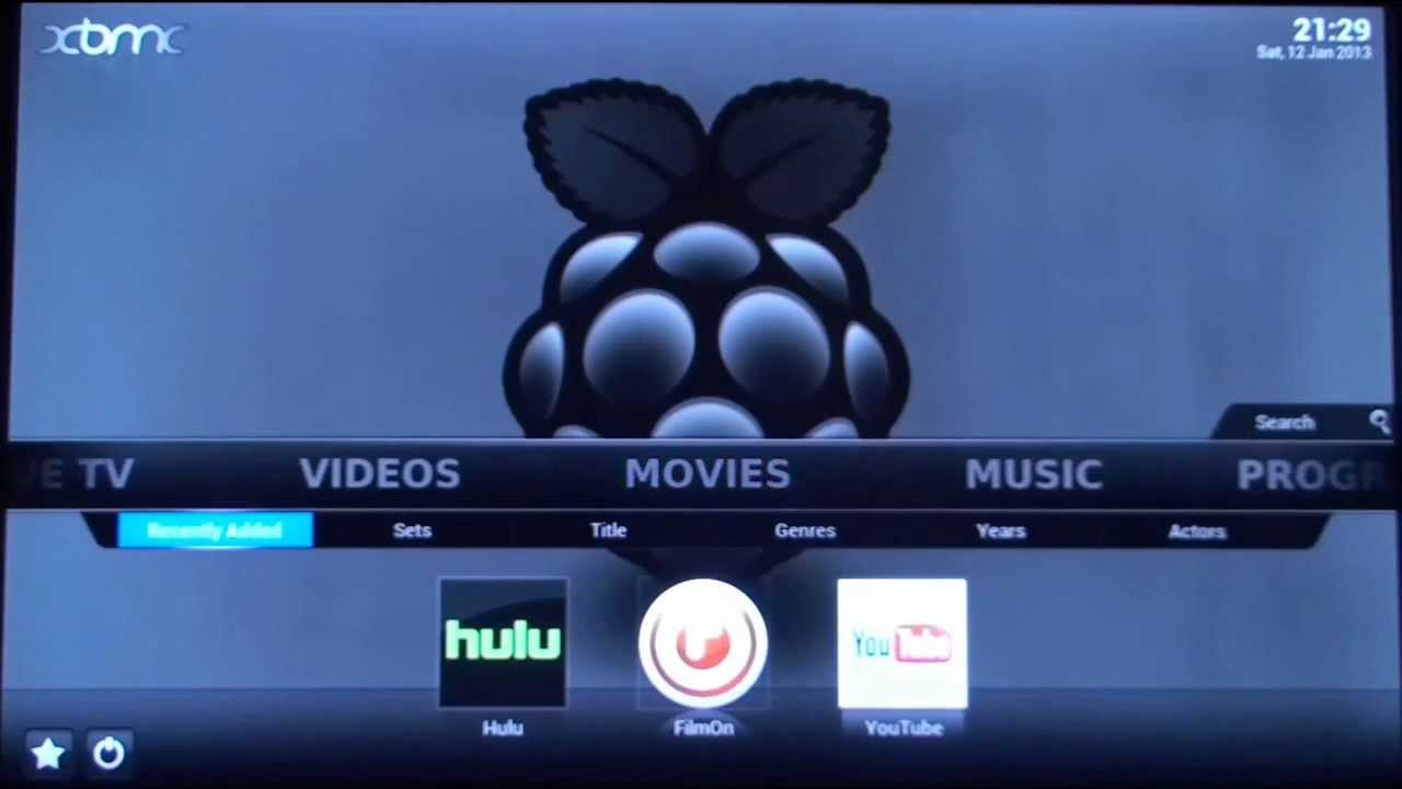 raspbmc xbmc on raspberry pi demo with live tv hulu and spotify youtube. Black Bedroom Furniture Sets. Home Design Ideas