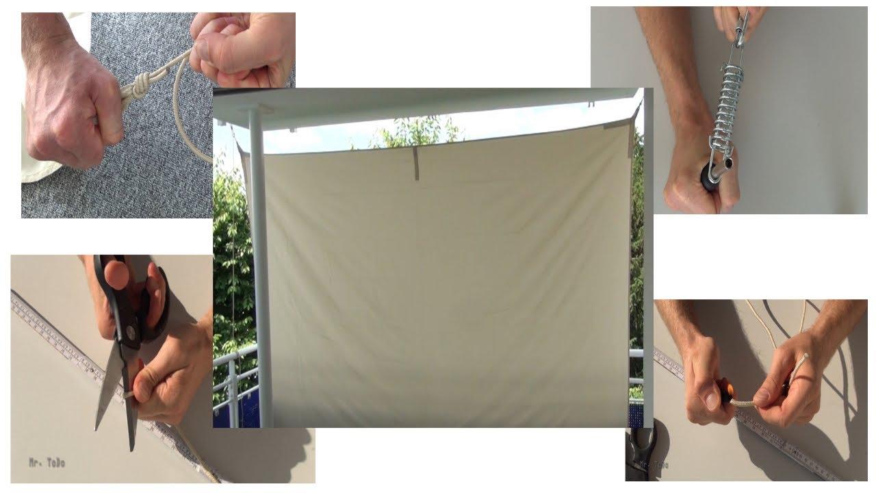 Sonnensegel Auf Dem Balkon Als Sonnenschutz Und Sichtschutz Youtube