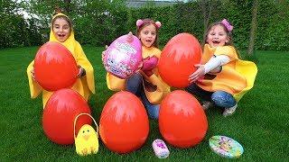 Что дети нашли в яйцах с сюрпризами Easter Surprise Eggs Hunt меняемся Подарками
