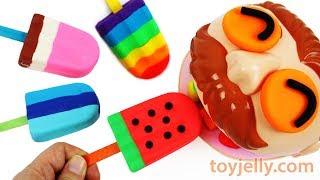 Play Doh Rainbow Watermelon Popsicle Ice Cream Dentist Doctor Drill Big Eater Jackson