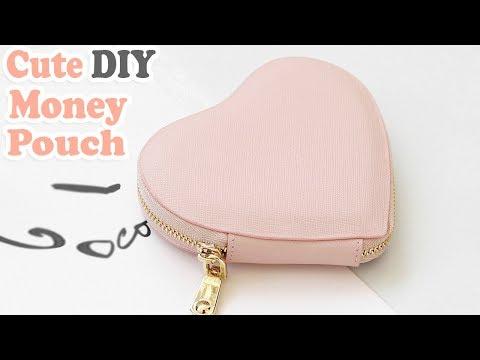 DIY HEART PURSE BAG // PU Lather Zipper Money Pouch & Credit Card Holder No Sew