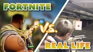 FORTNITE Weapons vs. REAL LIFE Weapons | (Rocket Launcher, Grenade Launcher & more!)