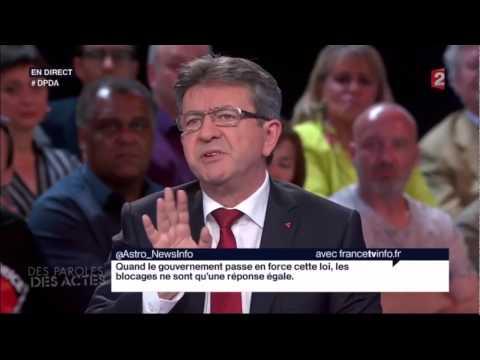 Jean Luc Melenchon Détruit David Pujadas sur la parution de la presse 26/05/2016