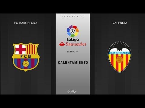 Calentamiento FC Barcelona vs Valencia