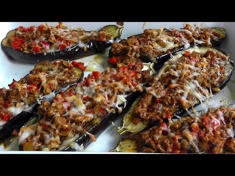 Lamb Mince stuffed Aubergines How to cook video recipe