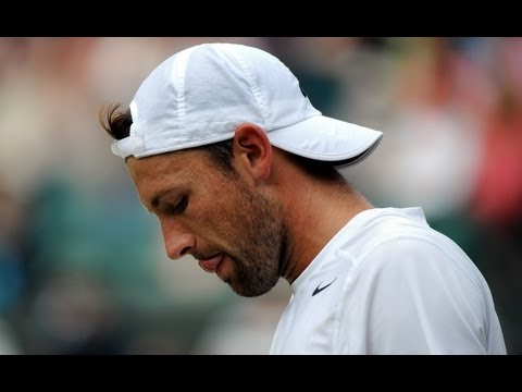 Lukasz Kubot reacts to quarter-final defeat at Wimbledon 201