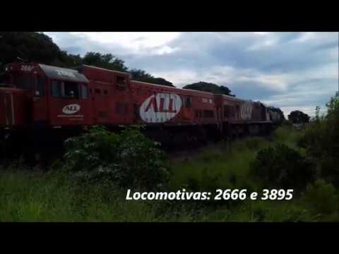 GE U20C-1 2666 e U20C 3895 saindo de Cornélio Procópio/PR sentido à Ourinhos/SP. 13/01/20.