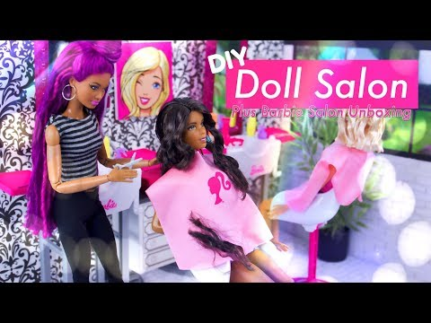DIY - How to Make: Doll Salon PLUS ALL NEW Barbie Salon Play Set Unboxing