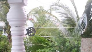 Our New Second Story Pulley Clothesline (in the rain)