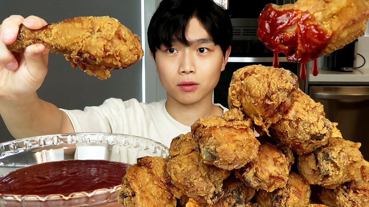 CRISPY FRIED CHICKEN SWEET & SPICY SAUCE ASMR MUKBANG 먹방