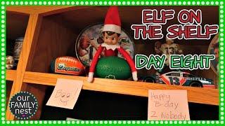 elf on the shelf day 8 birthday bashing