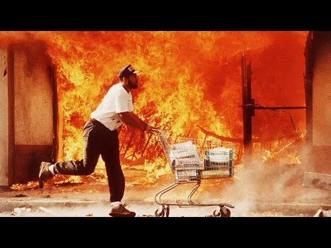 Rodney King riots dramatic news clips 1992