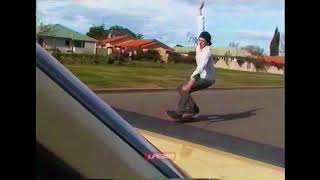 Girl's Car Rope Towed Skateboarding Fail