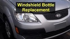 Washer fluid bottle leaking, cracked, broken, replacement, Kia Rio - VOTD