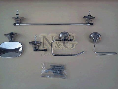 Kit set de accesorios para ba o 5 piezas cromado ng for Set accesorios bano