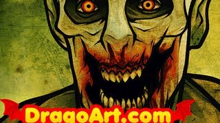 How to Draw a Walker, Walker Zombie From The Walking Dead, Step by Step