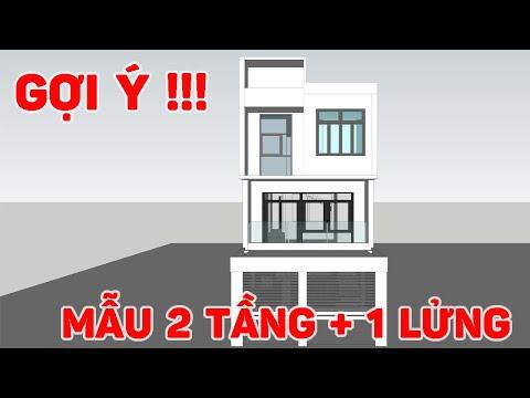 Gợi ý mẫu nhà 2 tầng 1 gác lửng kích thước 5,5mx17m