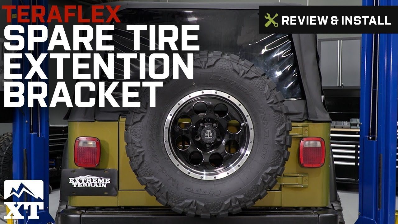 jeep wrangler 1997 2017 tj jk teraflex spare tire extension bracket review install [ 1280 x 720 Pixel ]