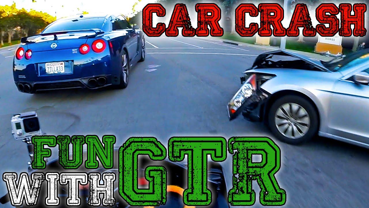 R6 Vs Nissan Gtr Car Crash Yamaha R6 Youtube