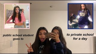 a PUBLIC school student attends a PRIVATE school for a day (GRWM + VLOG)