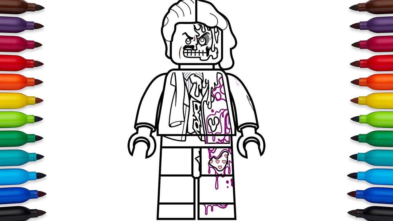How to draw lego two face from the lego batman movie