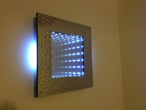miroir infini led  bulles