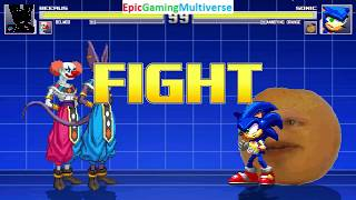 Beerus And Belmod VS Annoying Orange And Sonic the Hedgehog In A MUGEN Match / Battle