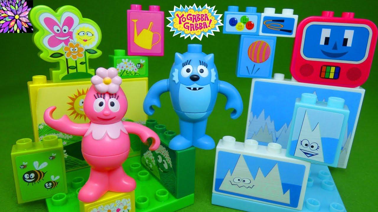Yo Gabba Gabba Mega Bloks Play Sets Foofa Toodee Brobee And Muno Land Mix And Match Figures Toys Youtube
