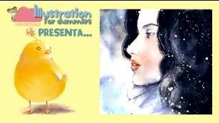 Acquerello: tutorial RITRATTO - ragazza nella neve