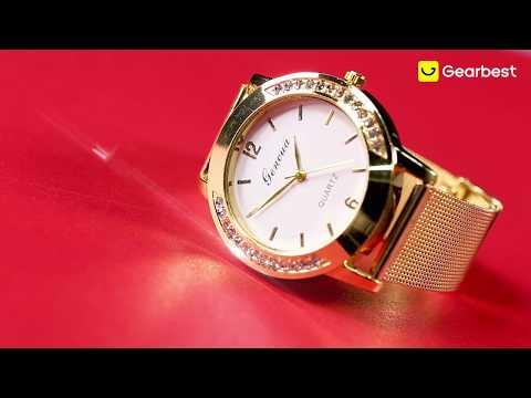 Men Gold Mesh Quartz Watch Women Metal Stainless Steel Dress Watches - Gearbest.com