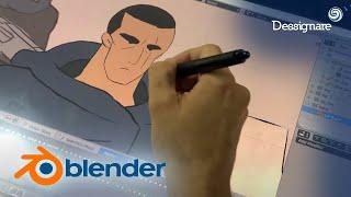 BLENDER 2.8 - Probando GREASE PENCIL nuevas herramientas de animación 2D #b2d #b3d