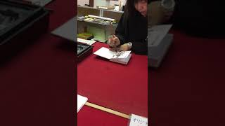 Japanese Calligraphy And GoShuin Red Stamp.