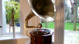 Vintage HMV Style Brass Horn Gramophone