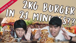 Finish A 2kg Burger In 21 Mins and it is FREE!    Eatbook Challenges   EP 6