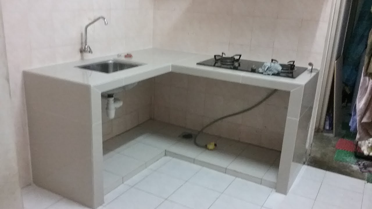 Buat Table Top Concrete Meja Dapur Konkrit Tile 2 Warna Putih Di