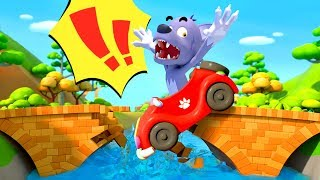 Big Bad Wolf Fell From Bridge | Monster Truck | Cars for Kids | Kids Songs | BabyBus