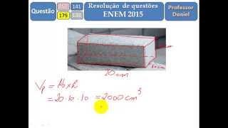 ENEM 2015 Matemática - Questão 138 (Gabarito Cinza) - Paralelepípedo - Parte 3