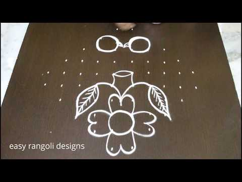 Latest and easy Birds kolam designs with 10x2 dots