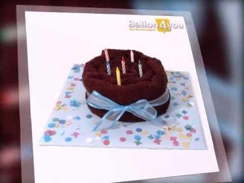 handtuchtorte schokogeburtstag mit happy birthday ballon. Black Bedroom Furniture Sets. Home Design Ideas