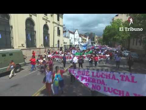 La marcha docente desde un dron