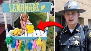 Cop Buys Lemonade At Girl's Stand, Returns The Next Day To Surprise Her.