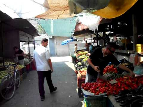 A typical fruit market in Shkoder, Albania.
