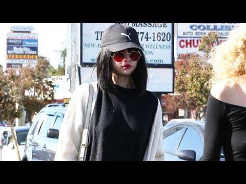 Pop Superstar Selena Gomez In Bright Red Lipstick For Justin Bieber
