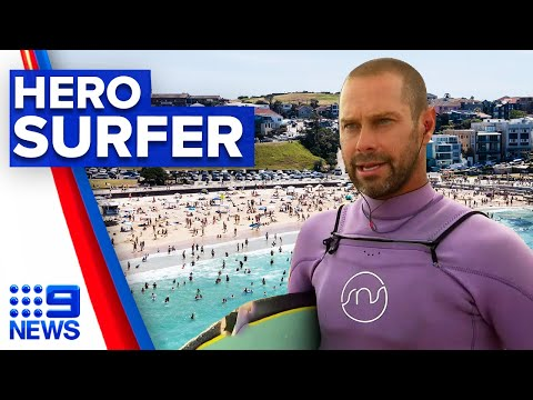 Hero surfer saves two families in one day | 9 News Australia thumbnail