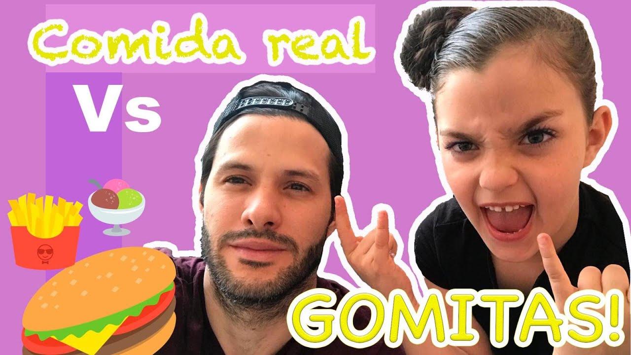 GUMMY vs REAL | Food Challenge | Sara y Papi