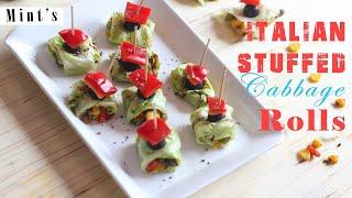 Italian Stuffed Cabbage Rolls Recipe - Evening Snacks Recipes - Vegan Indian Recipes Ep-179
