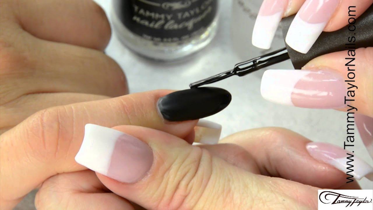 ♡ Tammy Taylor Matte Black Patent Leather French Manicure - YouTube